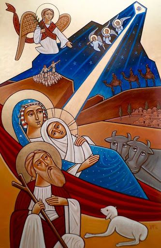 Epiphany of the Lord   2016   Catholic Mass Readings   Nativity (coptic)    Mt 2:9-11   After their audience with the king they set out. And behold, the star that they had seen at its rising preceded them, until it came and stopped over the place where the child was. They were overjoyed at seeing the star, and on entering the house they saw the child with Mary his mother. They prostrated themselves and did him homage. Then they opened their treasures and offered him gifts of gold…