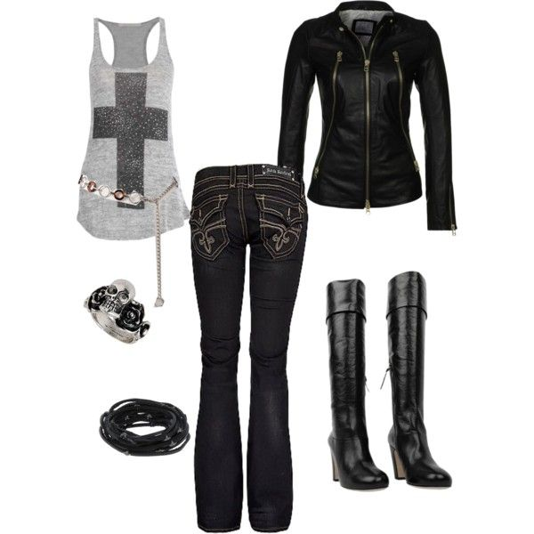 gemma teller morrow wardrobe | fashion look from February 2013 featuring Rock Revival jeans, Miu ...