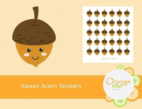 Kawaii Acorn Stickers, Fall Stickers, Planner Stickers, Erin Condren Life Planner