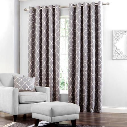Grey Bali Lined Eyelet Curtains #grey #curtains