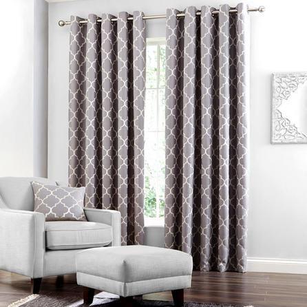 Grey Bali Lined Eyelet Curtains #grey #curtains