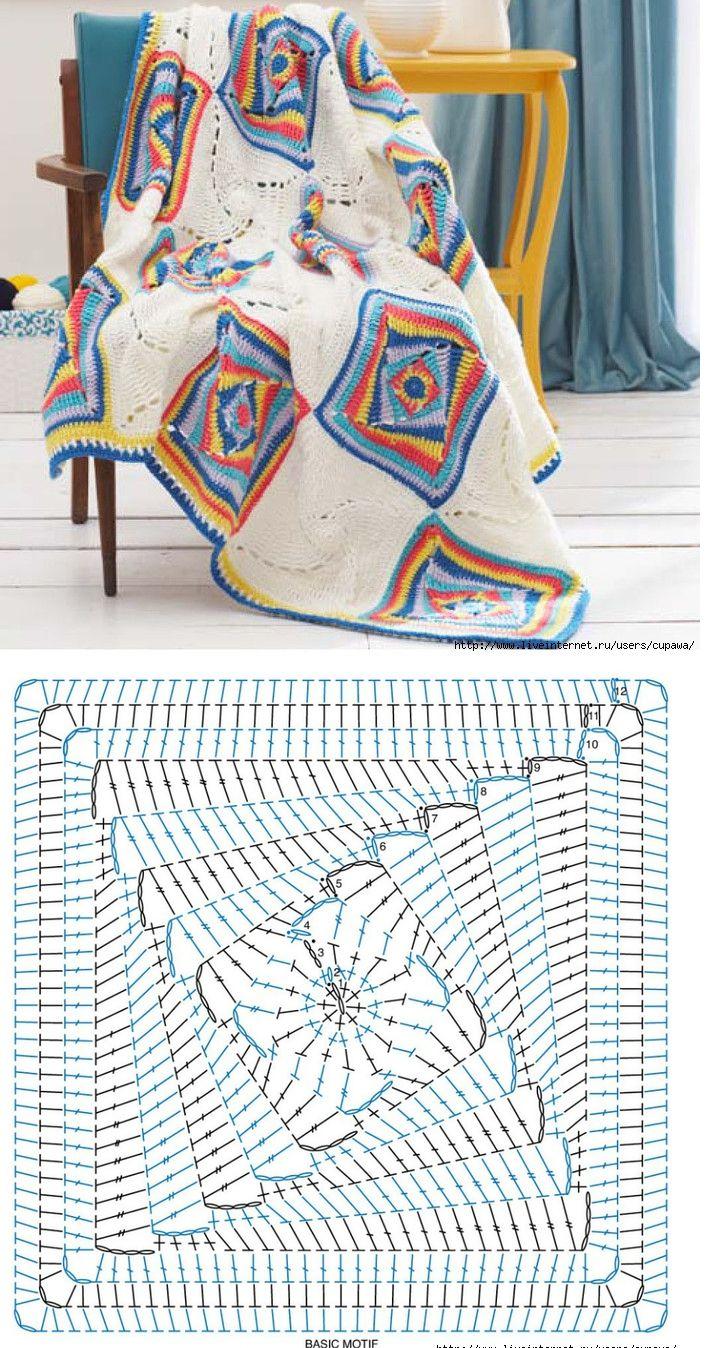 Crochet afghan tumbling Blocks square Free Crochet Granny Afghan Square Pattern