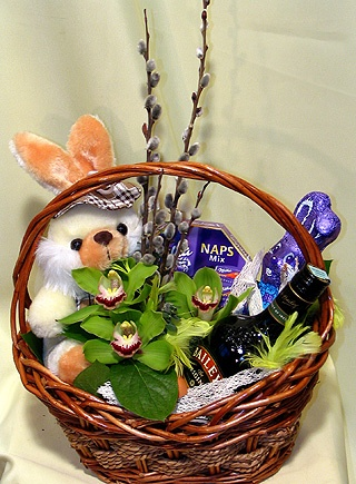 Elegant and fun basket with chocolates and a bottle of Baileys with.