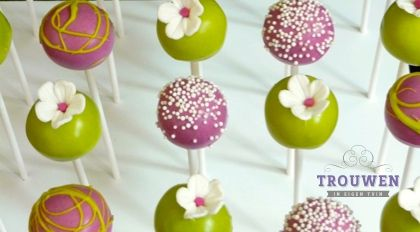 www.trouwenineigentuin.nl Cakepops in vrolijke kleuren en gevuld met lemon curd of framboos.