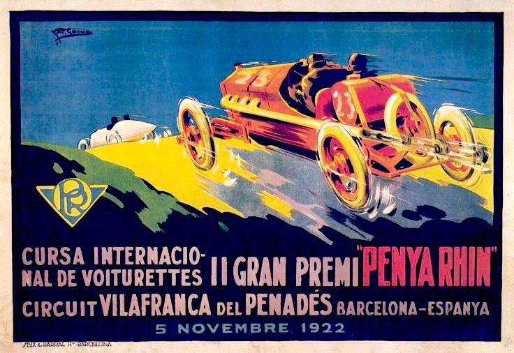 Gran Premi Penya Rhin Vilafranca Penedes  Cartell del GP de 1922