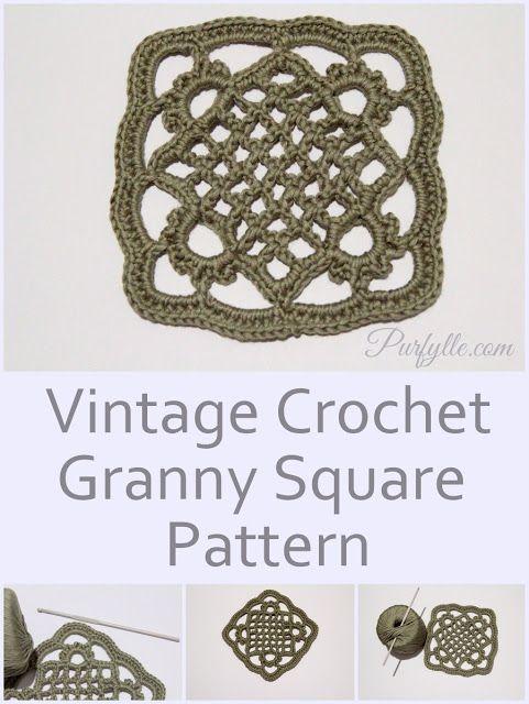 Vintage crochet granny square pattern