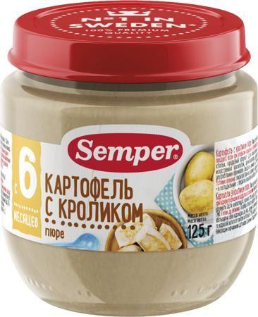 Semper Картофель с кроликом (с 6 месяцев) 125 г  — 116р. ------- Пюре Semper Картофель с кроликом с 6 мес. 125 г. Мясо кролика — это уникальный гипоаллергенный диетический продукт, который усваивается на 96%. Оно незаменимо для детей с анемией или пищевой аллергией. Пюре Картофель с кроликом поможет организму Вашего малыша поддерживать нормальный жировой обмен и оптимальный баланс питательных веществ. Мясо кролика не может содержать холестерин, пестициды, гербициды, следы лекарственных и…