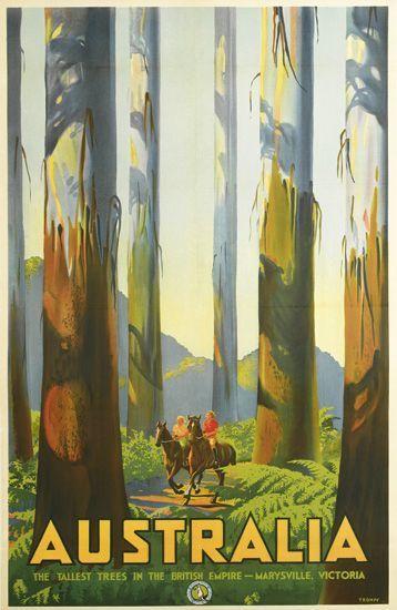 Retro Graphic Design PERCY TROMPF (1902-1964) AUSTRALIA / THE TALLEST TREES IN THE BRITISH EMPIRE. Circa 1935.