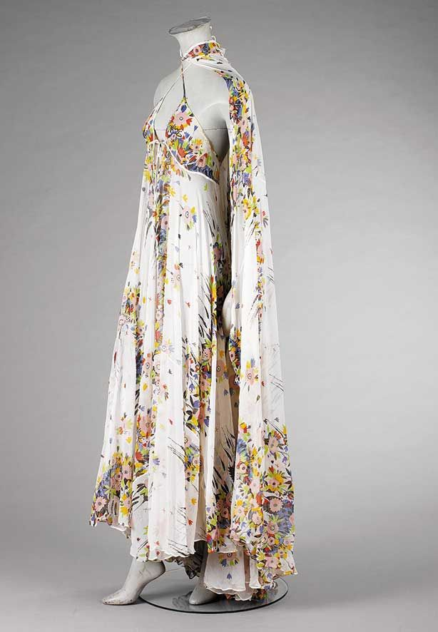 Ossie Clark chiffon halter-neck gown and matching cape | England, circa 1971 | Kerry Taylor Auctions