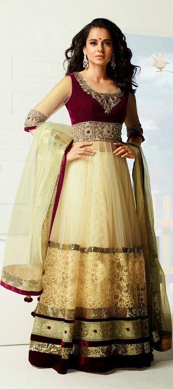 410851, Bollywood Salwar Kameez, Super Net, Resham, Stone, Valvet, Patch, Lace, Beige and Brown Color Family
