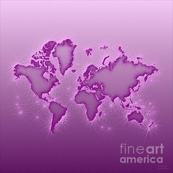 World Map Opala Square In Purple And Pink by elevencorners. World map wall print decor. #elevencorners #mapopala