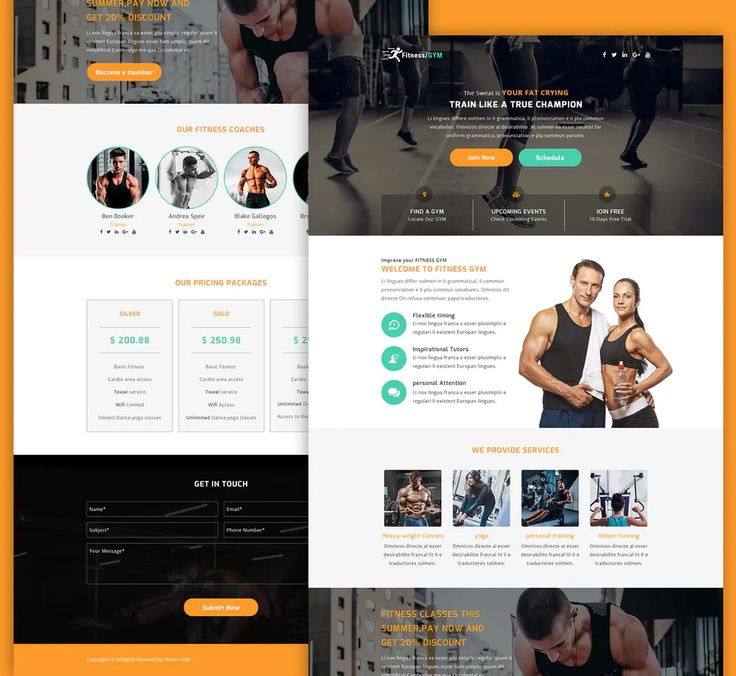 Fitness Landing Page PSD Website Template