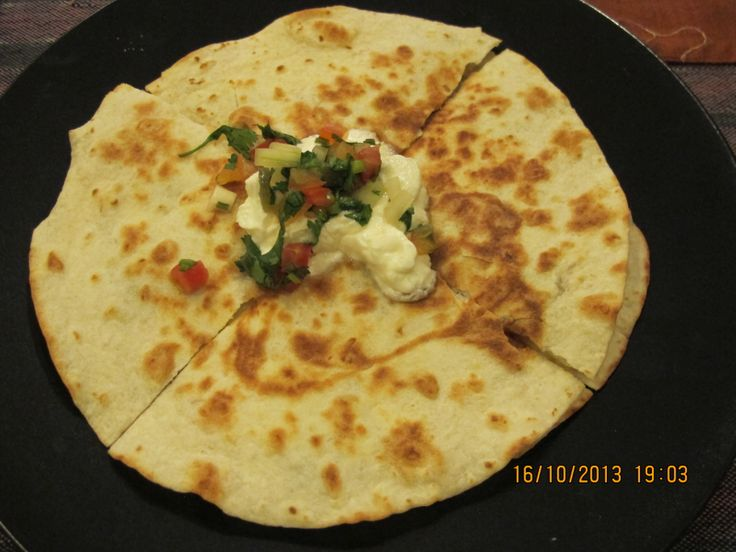 chicken casadia with sour cream and salsa
