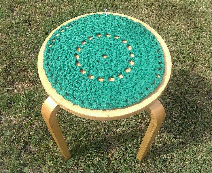 Green hand made crochet mat.