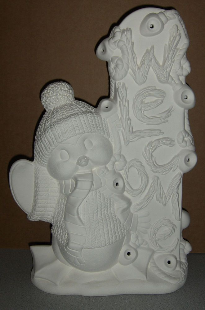 WELCOME Penguin Christmas Ceramic Bisque Ready to Paint  / Finish #ClayMagic