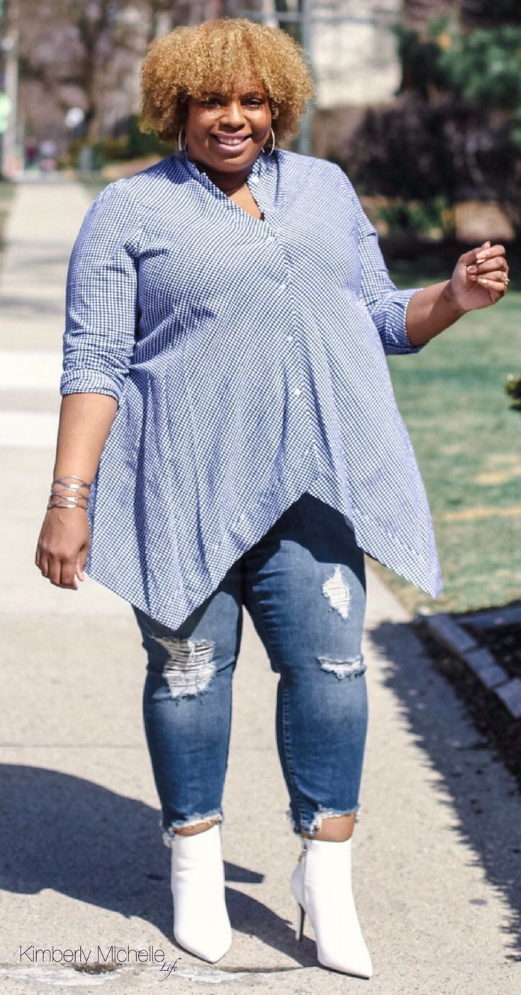 4541eb90dd2 Blue gingham top plus size with jeans and white booties. Gingham is the  latest fashion trend from tops to dresses.