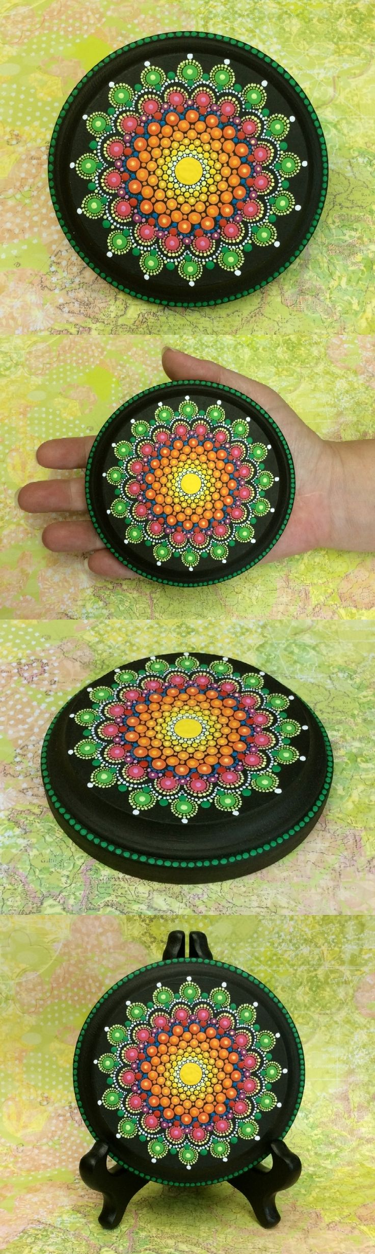 """Mandala Wood Disc (Large) by Kimberly Vallee: Hand painted with acrylic and protected with a matt finish, this hand painted Mandala is 3.5"""" wide on a 3/4"""" thick, 4"""" diam round wooden disc with a nice beveled edge.  No Prints, No Laminations, No Mass Production. It is one of a kind."""