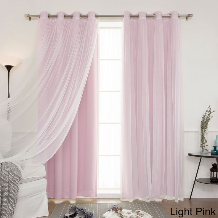 Aurora Home Mix & Match Blackout With Tulle Lace Sheer 4-piece Silver Grommet Curtain Set