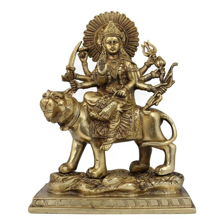 Amazon.com: Idol Durga Statue Goddess Figurine Metal Art Indian; Brass; 7.75 X 4 X 10 Inches: Home & Kitchen