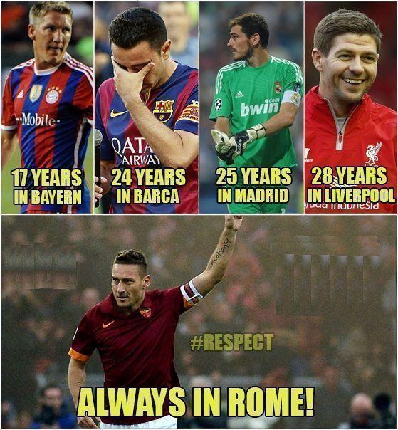 Wielki szacunek dla legendy Włoskiej drużyny piłkarskiej • Francesco Totti całą swoją karierę spędził w AS Roma • Zobacz więcej >> #totti #roma #asroma #football #soccer #sports #pilkanozna
