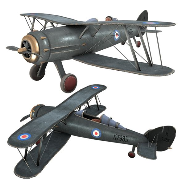 Airplane GLOSTER GLADIATOR, PLANE  Airplane 3D model  #3D
