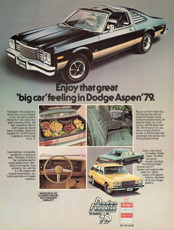 1979 Dodge Aspen R/T Coupe. Available 360 CI V-8 Rated @ 195 HP.