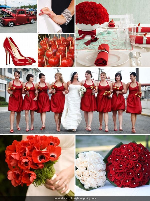 red wedding. I want a red white and black wedding. Certain things would be different but as a whole these are super cute. Love the bridesmaids dresses!