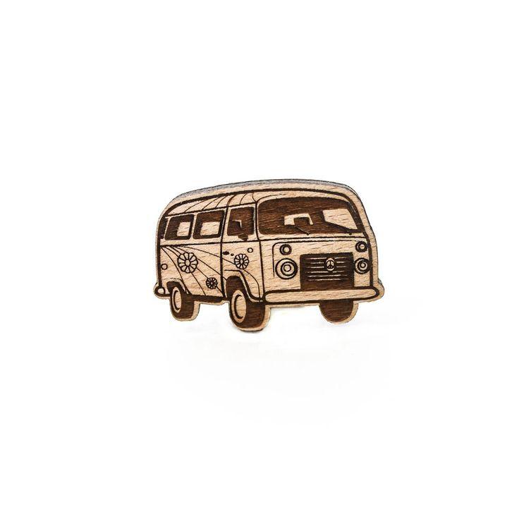 Деревянный значок Автобус хиппи #wafwaf #wafwafgoods