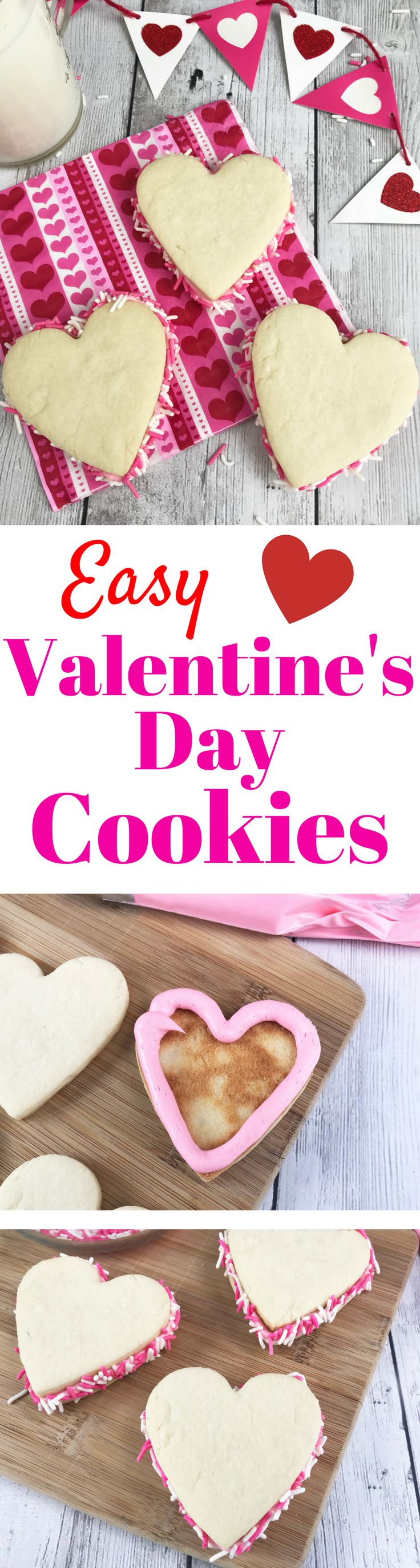 Easy Valentine's Day Sandwich Cookies - Perfect for a Kid's Party.  #ValentinesDay #Valentines #Baking
