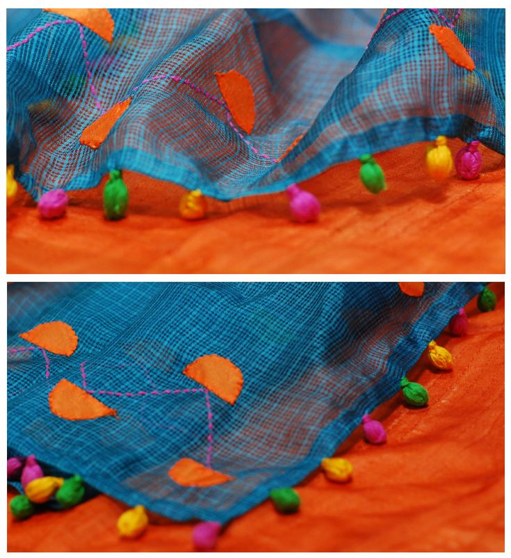 happpy colours in a beautiful #stole, for #shadesofspring, #detail