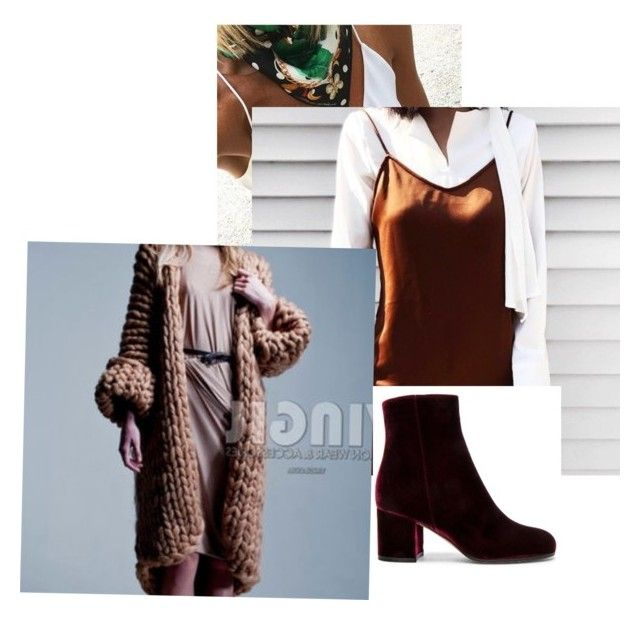 """""""Slip with chunky knit and scarf to accessorise.  Also featuring velvet boot"""" by clare-dufty-1 on Polyvore"""