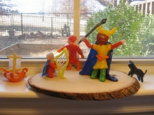 Waldorf ~ 4th grade ~ Norse Mythology ~ Viking Ship, Bragi, Loki, Odin, & one of Freya's cats ~ beeswax model