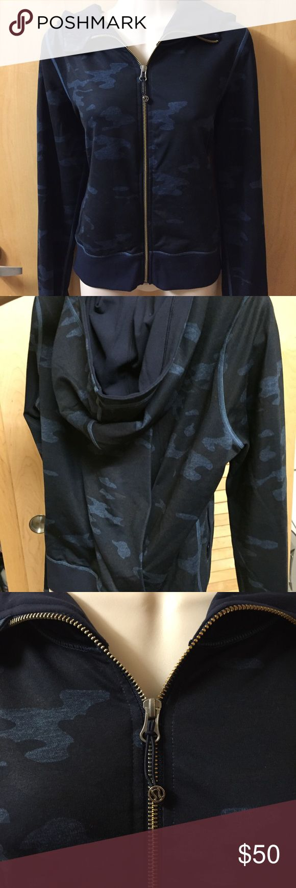 Lululemon Oil Slick Camo Namaskar Hoodie Sz 6 Like new. Only worn once. Drapey fit with a pleat on the back. Navy camo print with gold zipper. Smooth Luon fabric. No trades. Bundle for a discount. lululemon athletica Jackets & Coats