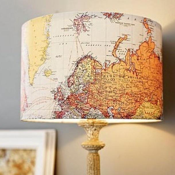 wereld ideeen   mod podge een landkaart op je lampenkap Door missjanet