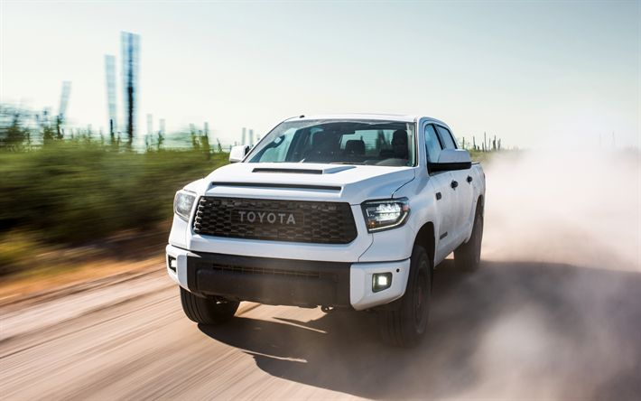 Download wallpapers Toyota Tundra, 2019, CrewMax, Tundra TRD, new white Tundra, pickup, American SUV, speed, road, Toyota
