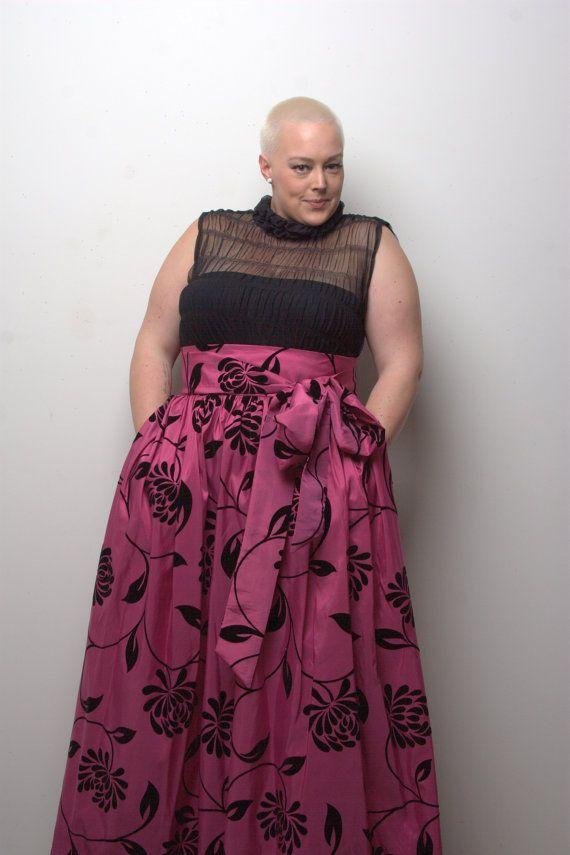 JIBRI Plus Size High Waist Flare Skirt Maxi Length ...