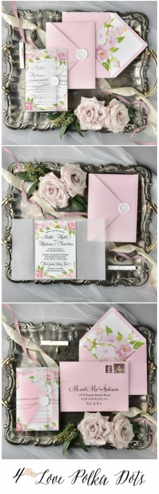 Pink & White wedding invitation with floral printing #wedding #weddingideas #pink #white #elegant #romantic #delicate #weddingcolors #vintage #pastel #floral