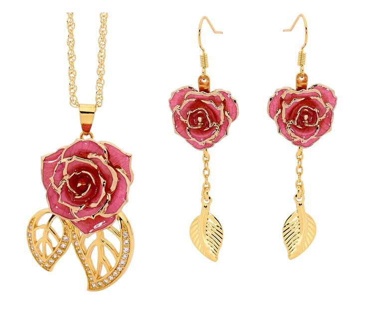"A beautiful pendant with encrusted synthetic diamonds & exquisite drop earrings made from natural pink miniature rose petals, glazed & trimmed with pure 24k gold, in a leaf-style theme. The pendant includes an elegant 24k gold dipped chain. The jewelry comes in a navy velvet pouch with gold braid draw strings. These jewelry pieces are purchased worldwide for wedding anniversaries, Valentine's day, other romantic occasions, as a birthday gift, or anytime when you just want to say ""I love…"
