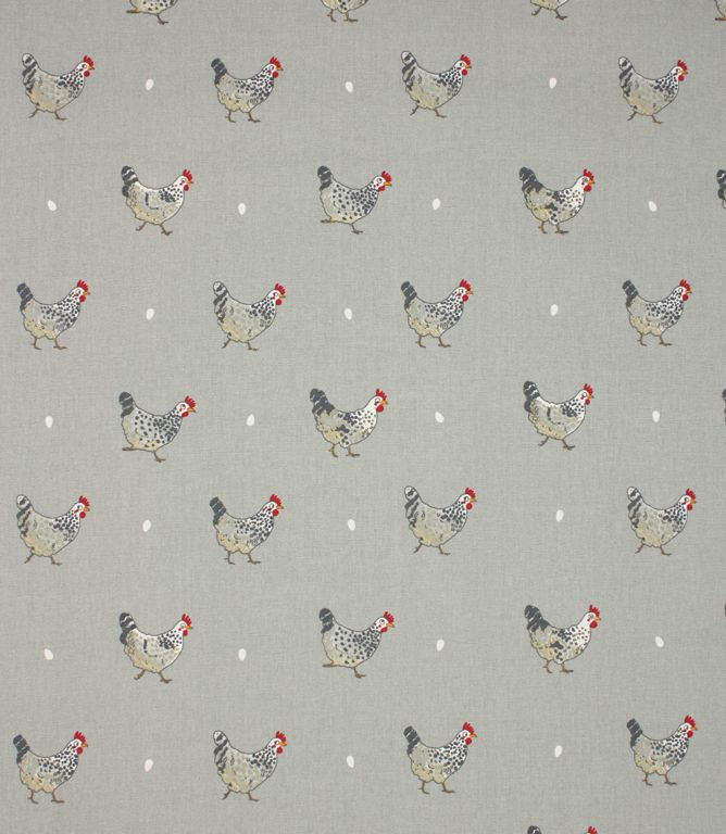 Gorgeous chicken fabric suitable for use as curtain material or for roman blinds. Great for a country kitchen. Buy online or visit one of our large showrooms to view this and thousands more designer fabrics. PLEASE NOTE: width is 160cm, useable width is 155cm.