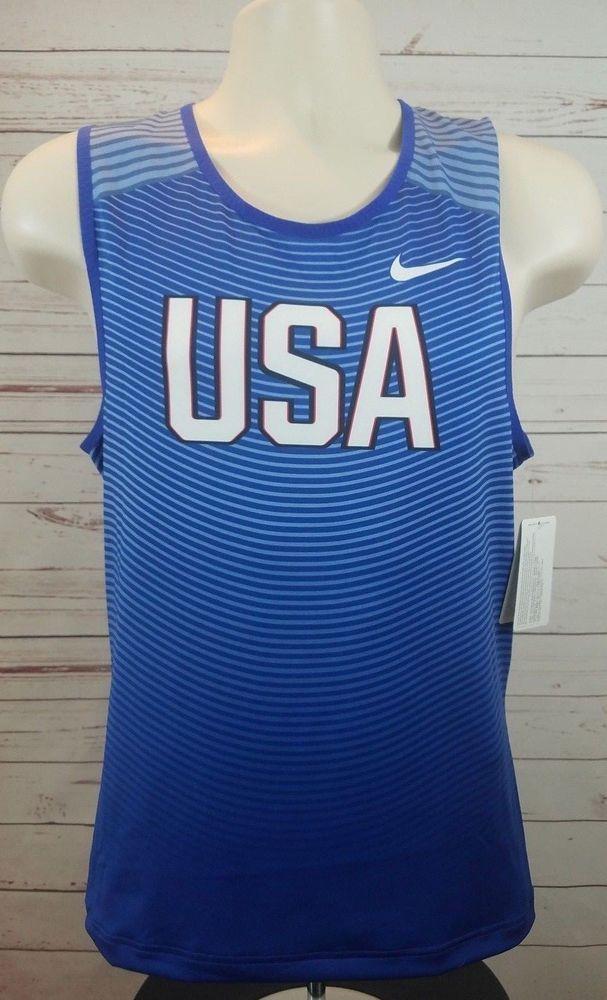 5792505f010 Nike Team USA Digital Race Day Tight Tank Men s Large Blue 880462  Nike   TeamUSA