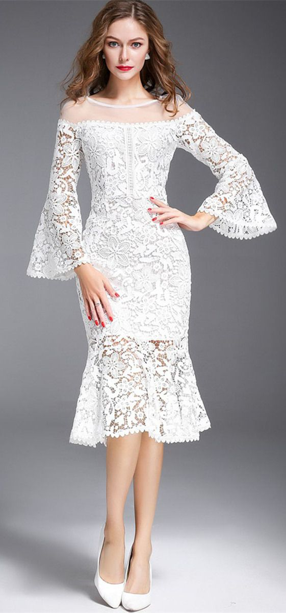 Nine Points Sleeve Mermaid Off White Women's Lace Dress