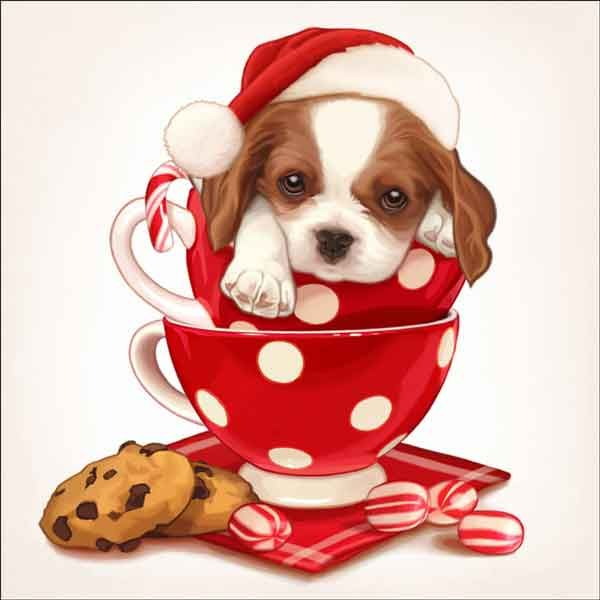 Check out the deal on Cazenave Holiday Puppy Art Ceramic Accent & Decor Tile - MC2-008dAT at Artwork On Tile Online Storefront