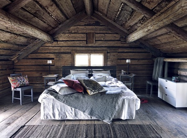 rustic room I would replace the bed with a huge sewing table
