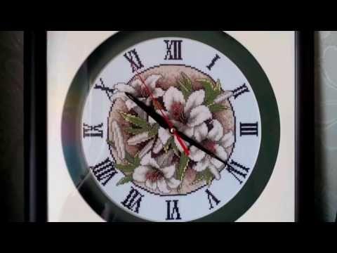 """Вышивка крестом. Часы. Картина """"Лилии"""". Оформление. Cross stitch. - YouTube"""