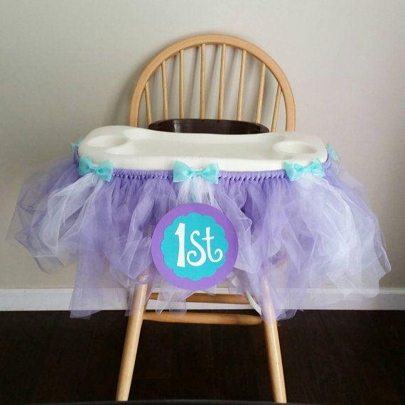 First Birthday Mermaid themed Highchair tutu Etsy shop https://www.etsy.com/listing/234689442/purple-and-teal-first-birthday-highchair