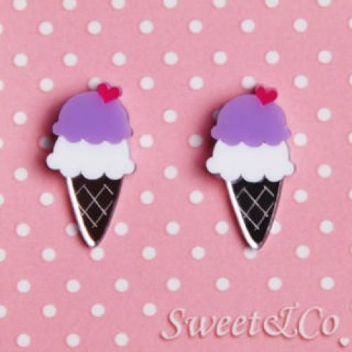 I love ice-cream mirror stud earrings