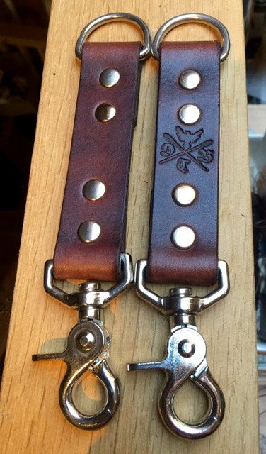 Full grain English leather keychain with nickel or brass hardware.  The DTB Keychain is perfect for attaching any keys, pocket tools or just about any
