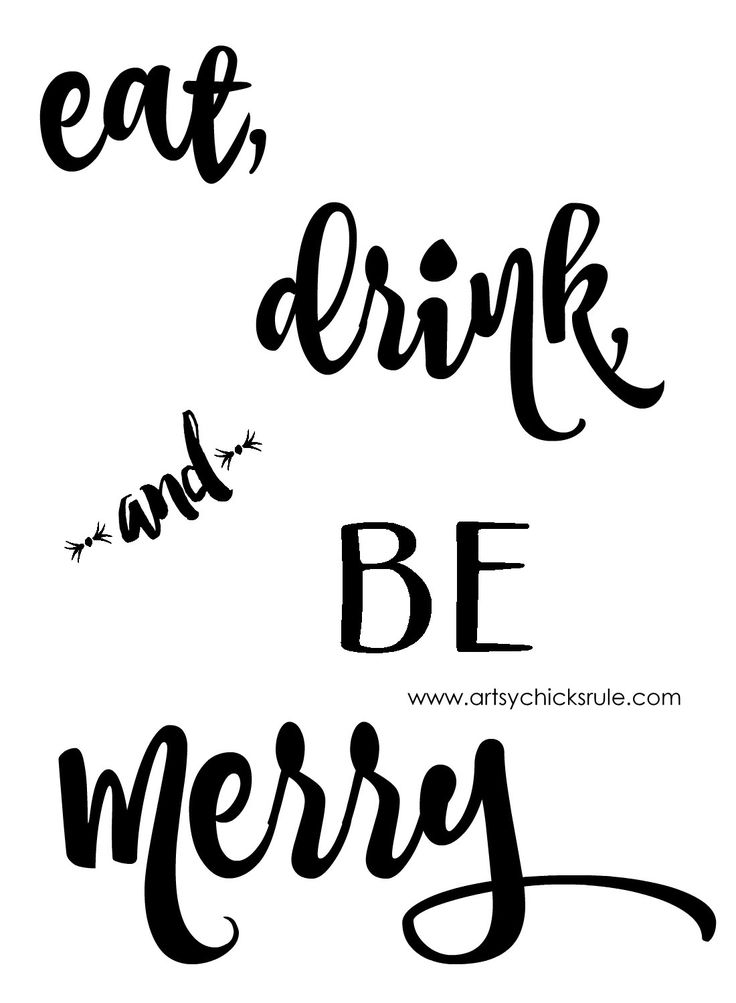 eat  drink and be merry chalk art  and a free printable