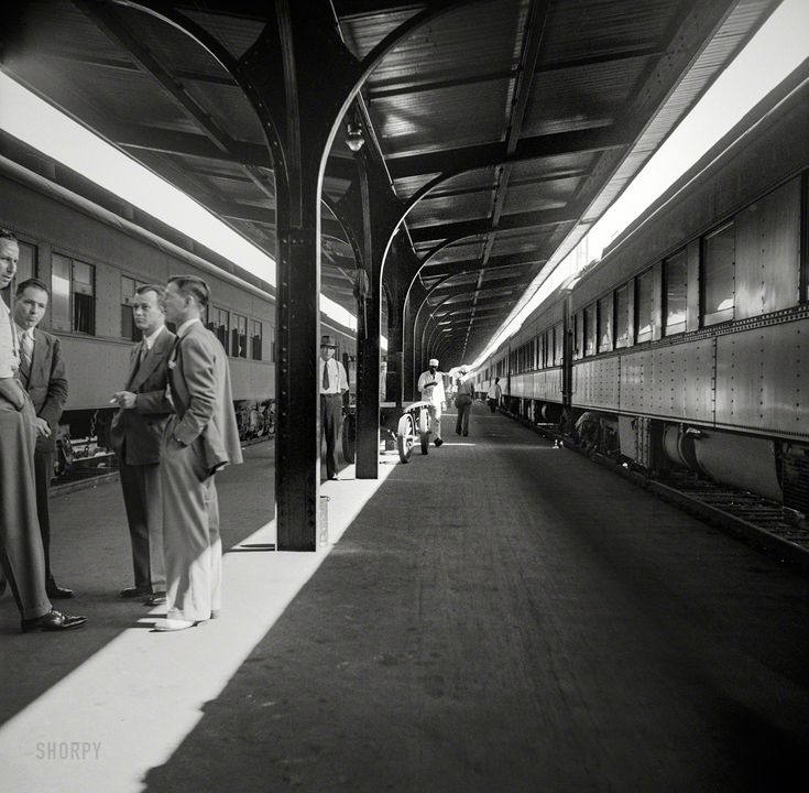 """August 1941. """"Trains in the Southern Railway terminal in Atlanta, Georgia."""" Medium format nitrate negative by John Collier."""