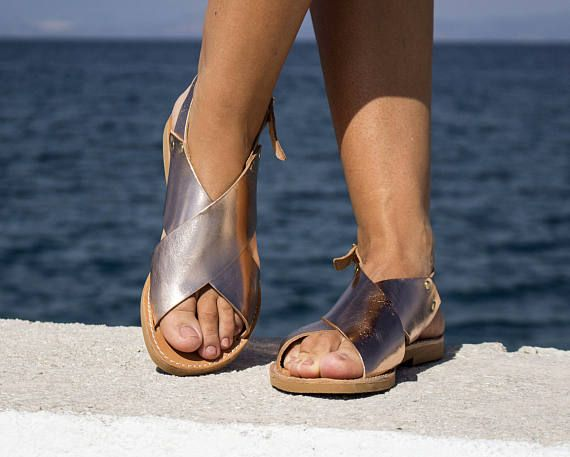 NEW X shape leather Sandals Copper color  Barefoot Greek